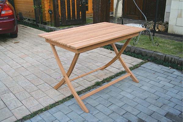 折り畳みスクエアテーブル 単品 チーク 木製 折りたたみ ガーデンテーブル 机 テラス アウトドア おしゃれ モダン
