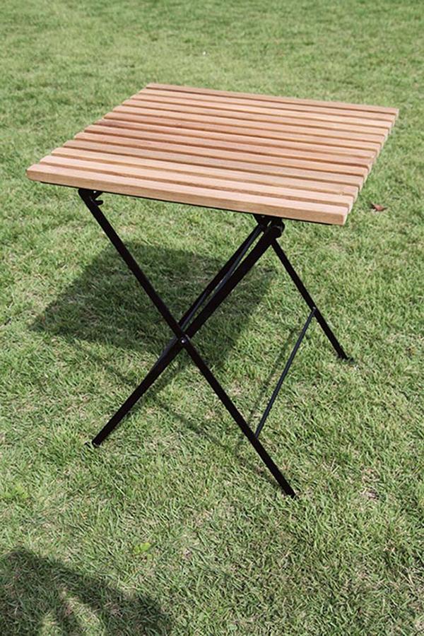折り畳みアイアンチークテーブル 単品 折りたたみ チーク 木製 アイアン ガーデンテーブル 机 テラス アウトドア おしゃれ モダン