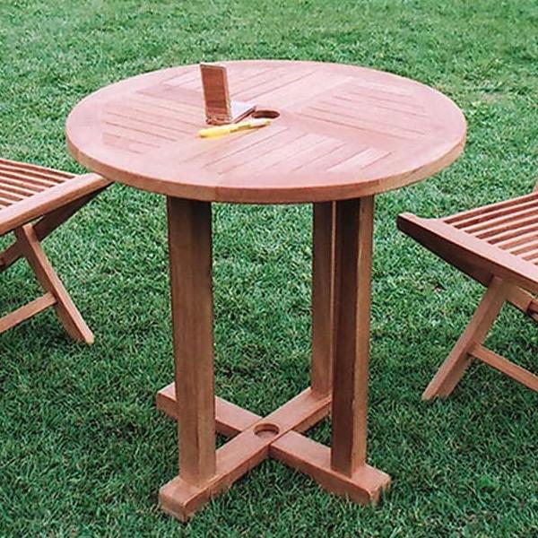 丸テーブル単品 チーク 木製 ガーデンテーブル 机 テラス アウトドア おしゃれ モダン