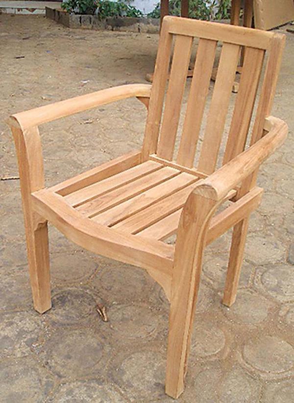 スタッキングチェア 木製 チーク ガーデンチェアー 1人掛け いす 椅子 ひとりがけ チェア テラス カフェ おしゃれ モダン レトロ 高級感
