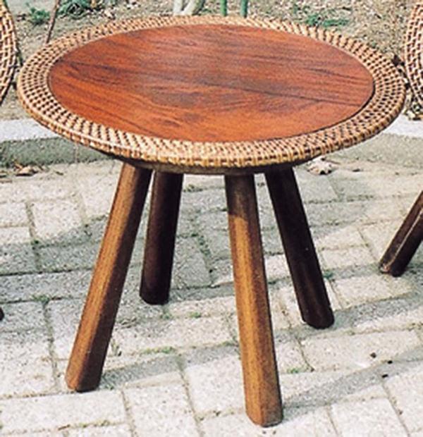 ラタンウッドテーブル カフェテーブル リビングテーブル 机 作業台 卸直営 40%OFFの激安セール おしゃれ アジアンテイスト モダン