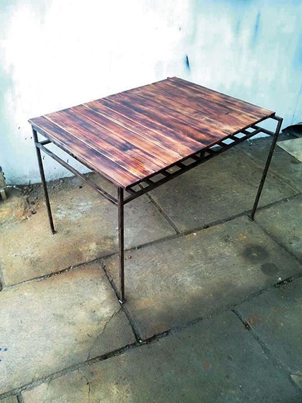 コーヒーテーブル スチール スクラップテーブル テーブル L アンティーク 机 カフェ 単品 モダン おしゃれ