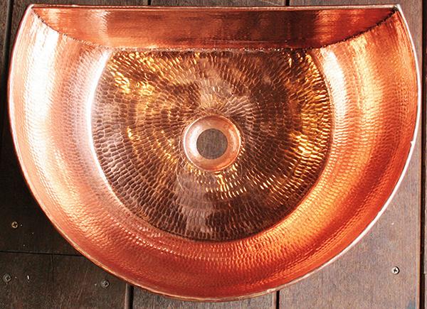 銅製洗面ボウル 半円型 おしゃれ 洗面シンク 洗面ボウル 手洗い鉢 アンティーク モダン レトロ