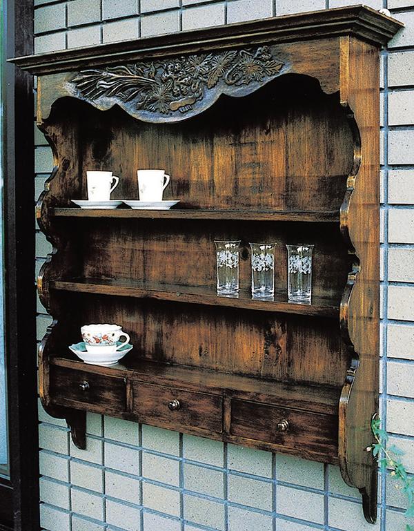 キッチンウォールラック 食器棚 調味料ラック スパイスラック 木製 ディスプレイラック リビング キッチン 玄関 収納棚 棚 シェルフアンティーク おしゃれ モダン レトロ