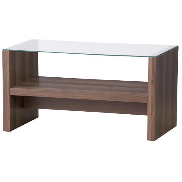 カフェテーブル 幅75cm ガラステーブル 棚付き ローテーブル 驚きの値段 センターテーブル リビングテーブル 休日 コーヒーテーブル レトロ ブラウン カフェ風 一人暮らし モダン おしゃれ 北欧