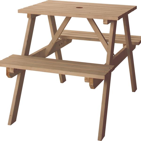 レジャーテーブルセット 2人 レジャーテーブル&チェアセット 幅75cm テーブル ベンチ チェア 机 木製 椅子 パラソル穴 アウトドア キャンプ イベント バーベキュー 屋外 室外 お庭 ベランダ ウッドデッキ ブラウン
