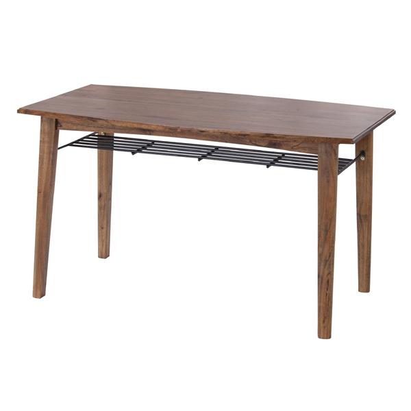 ダイニングテーブル 単品 4人用 4人掛け テーブル 幅130cm 棚付き アイアン 北欧 シンプル ダイニング テーブル 天然木 木目 木製 おしゃれ 机 つくえ 食卓机 作業台 食卓テーブル リビングテーブル 西海岸 モダン ナチュラル ブラウン