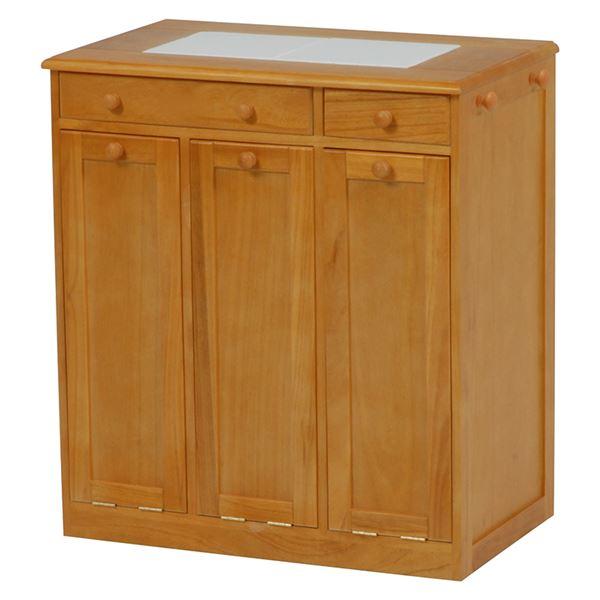 ダストボックス/ゴミ箱 【3分別/幅66cm】 ナチュラル 木製 キャスター付き【代引不可】