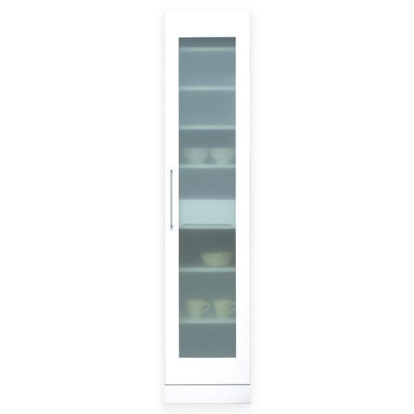 スリムタイプ食器棚/キッチン収納 幅40cm 飛散防止加工ガラス使用 移動棚付き 日本製 ホワイト(白) 【完成品】【代引不可】