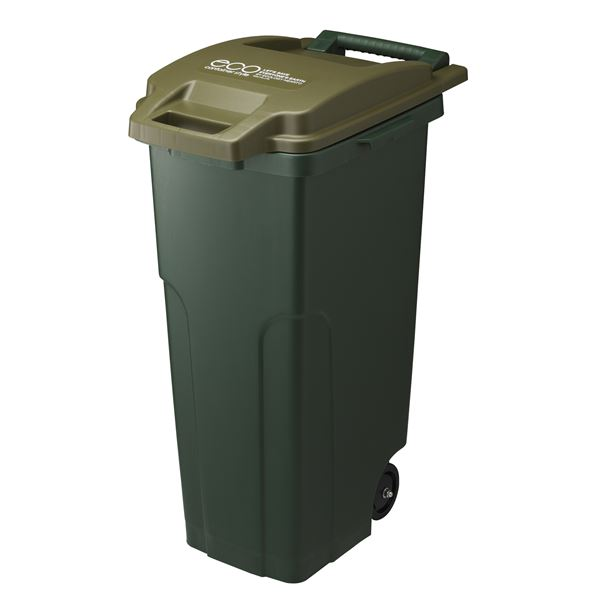 ダストボックス/ゴミ箱 『コンテナスタイル2』【代引不可】 キャスター付き CS2-70C2 フタ付き 【カーキー】