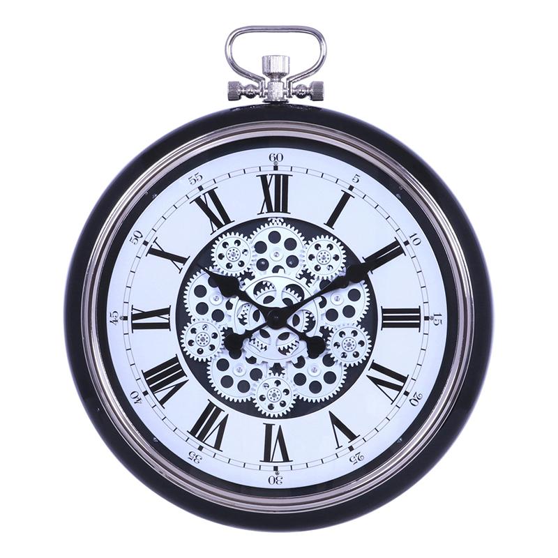 送料無料 掛時計 ギア L Φ52cm ブラック 掛時計 掛け時計 壁掛け ウォールクロック 壁掛け時計 シンプル モダン おしゃれ