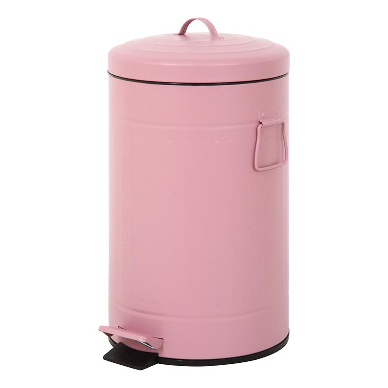 送料無料 6個セット スチール 円形 ラウンドペダルペール 12L ゴミ箱 ダストボックス ふた付き 蓋付き リビング キッチン シンプル 西海岸 男前インテリア おしゃれ かわいい ピンク