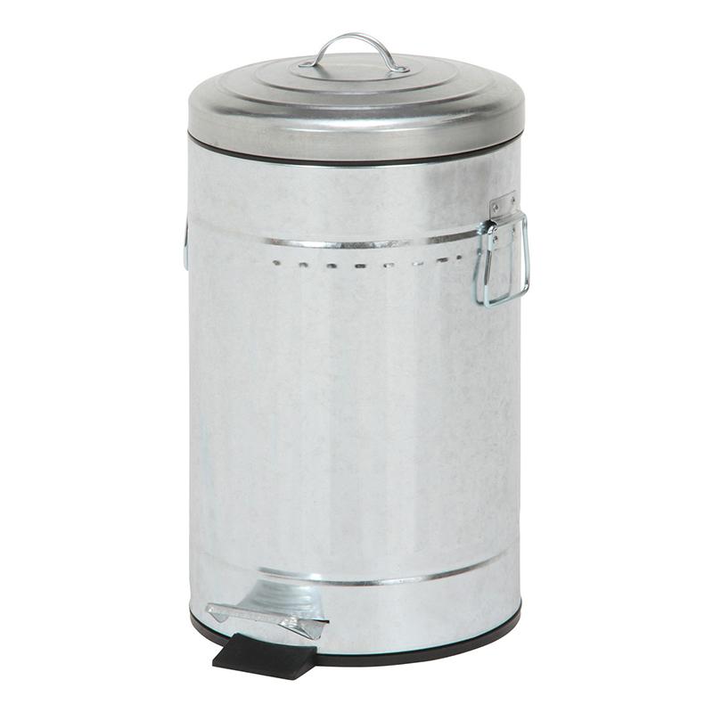 送料無料 6個入り スチール 円形 ラウンドペダルペール 12L ガルバナイズ ゴミ箱 ダストボックス ふた付き 蓋付き リビング キッチン シンプル 西海岸 男前インテリア おしゃれ かわいい