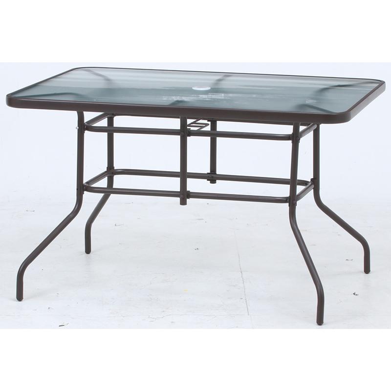 送料無料 ガラステーブル 幅120cm ガーデンテーブル パラソルホール付き カフェテーブル シンプル 北欧 おしゃれ かわいい ブラウン