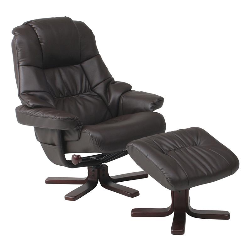 送料無料 パーソナルチェア パーソナルチェアー オットマン セット リクライニング パーソナル チェアー 脚置き イス チェア 椅子 一人掛け リラックスチェア レザー シンプル モダン おしゃれ ブラウン