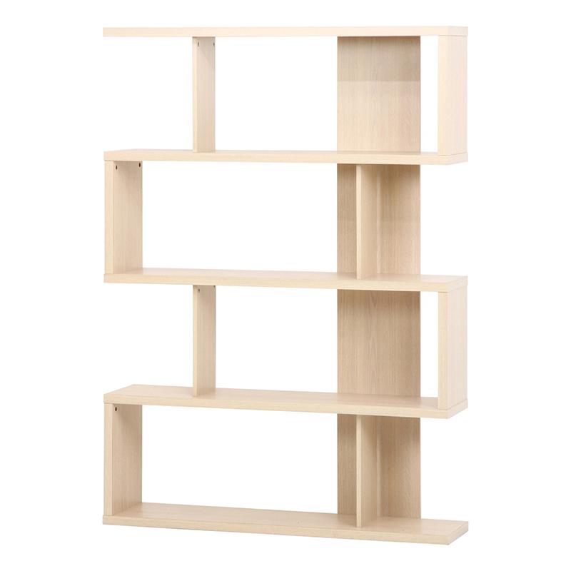 送料無料 S型ディスプレイシェルフ 本棚 収納棚 飾り棚 木製 おしゃれ ディスプレイ 間仕切り オープンラック オープンシェルフ ジグザグラック 多目的ラック モダン シンプル ホワイトウォッシュ