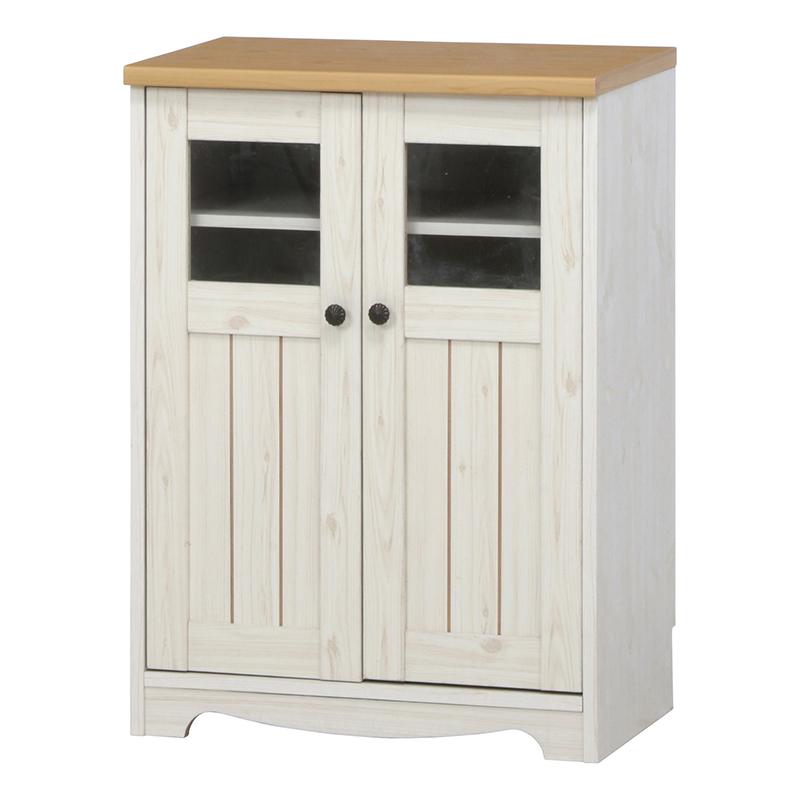 送料無料 キャビネット 木製 食器棚 幅59cm リビング収納 飾り棚 カップボード キッチン収納 収納棚 棚 キッチン ラック おしゃれ 北欧 レトロ モダン かわいい カントリー アンティーク ナチュラル×ホワイト