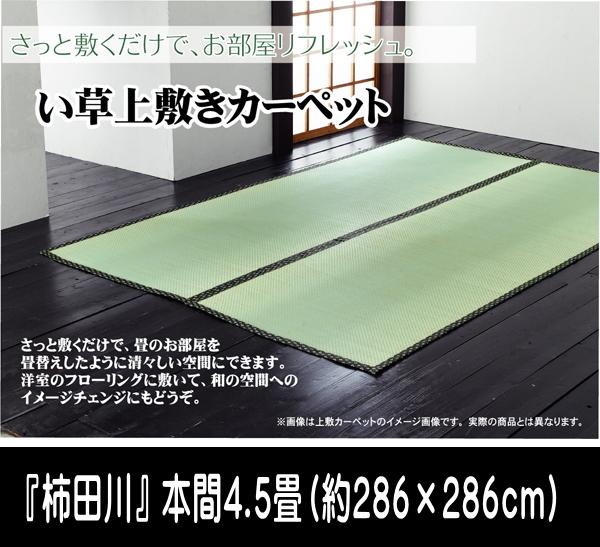 い草 上敷き カーペット 4.5畳 国産 糸引織 『柿田川』 本間4.5畳 (約286×286cm) ik-1103884