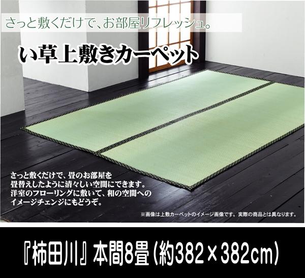 い草 上敷き カーペット 8畳 国産 糸引織 『柿田川』 本間8畳 (約382×382cm) ik-1103888