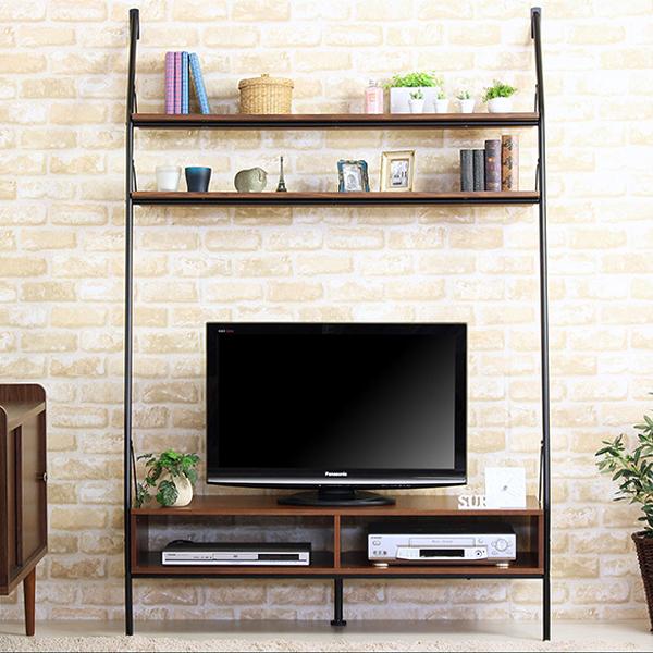 送料無料 壁面収納 テレビ台 幅120cm 奥行40 ハイタイプ テレビボード 40Vインチ 壁寄せ 収納 おしゃれ 一人暮らし 北欧ヴィンテージデザイン スチール ウォールナット IWH-38