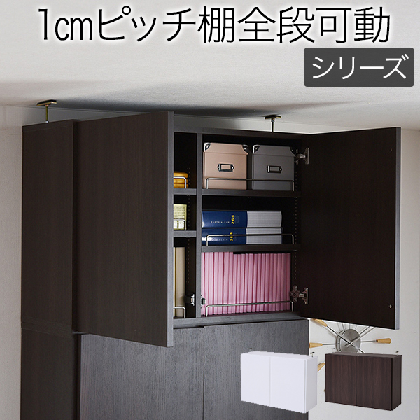 送料無料 本棚 深型 ラック 扉付き 上置き 幅81 MEMORIA 棚板が1cmピッチで可動する frm-0110door