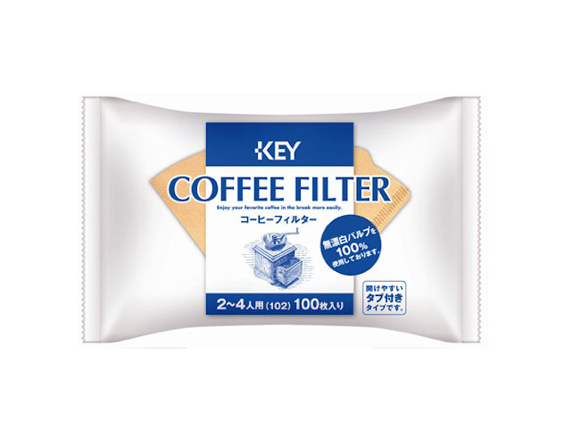 キーコーヒー コーヒーフィルター 無漂白 タブ付 贈与 x10 102 市販 100枚