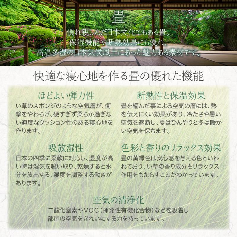 組立設置付シンプルモダンデザイン大容量収納日本製棚付きガス圧式跳ね上げ畳ベッド結葉ユイハ国産畳セミダブル深さグランド