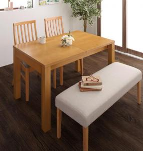 Costa コスタ 3段階伸縮ダイニングテーブル 4点セット (テーブル 幅120-150-180+チェア2脚+ベンチ1脚) 天然木 木製 天板拡張 角型 4人用 500026817 ハイバックチェア ダイニング 4人掛け 食卓テーブル 伸縮式 伸長式テーブル エクステンションテーブル 送料無料 500026817