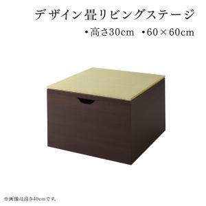日本製 収納付きデザイン畳リビングステージ そよ風 そよかぜ 畳ボックス収納 60×60cm ロータイプ