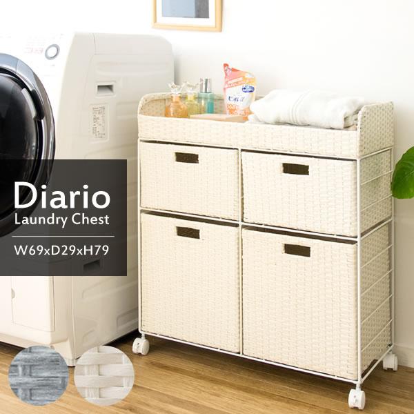 送料無料 ラタン ランドリーチェスト 2段2列 高さ79cm キャスター付き サイドチェスト 衣類収納 ランドリーラック 収納棚 軽量 引き出し 収納 洗濯物収納 リビング収納 かわいい アジアン 高級感 インテリア おしゃれ