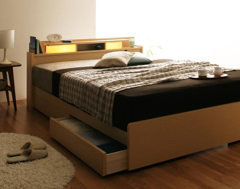 照明 棚付き 収納ベッド All-one ベッドフレーム マットレスセット シングル ライト 収納付きベッド 木製 ベット シングルベッド 引き出し ポケットコイルマットレス付き シンプル 北欧 男前インテリア ブルックリン モダン 塩系 おしゃれ 一人暮らし