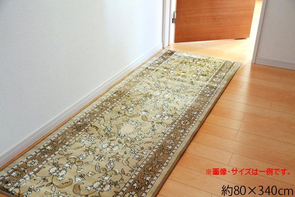 廊下敷き モケット織り 王朝柄 『オーク』 ベージュ 約80×340cm 滑りにくい加工 ik-2001530