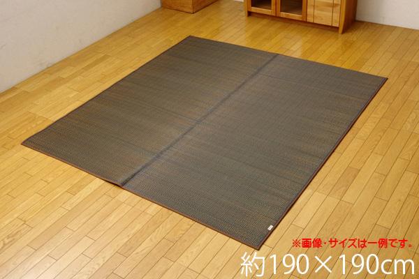 い草ラグ カーペット 2畳 国産 シンプル モダン 『Fルーツ』 ブラウン 約190×190cm(裏:ウレタン) ik-8228820