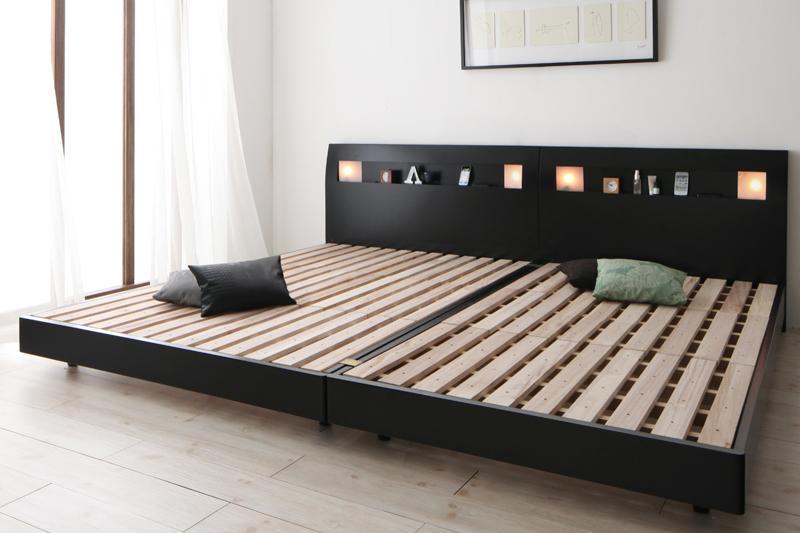 【送料無料】 連結ベッド ベッドフレームのみ ワイドK200 桐 すのこベッド 棚付き 宮付き コンセント付き ファミリーベッド アルテリア ローベッド ベッド ベット 木製ベッド ウォルナットブラウン ブラック 北欧 ライト付き 500021643