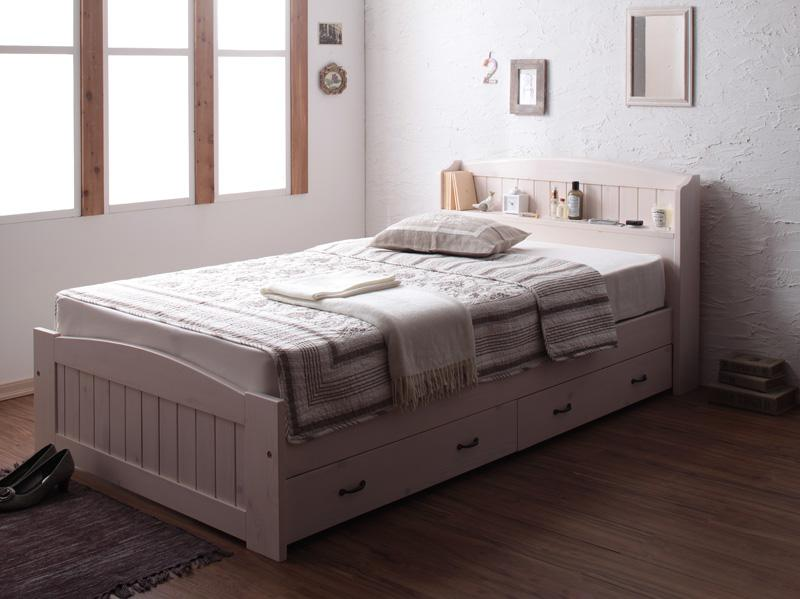 (送料無料) ベッド シングル 収納付きベッド フレーム マットレス付き シングルベッド シングルサイズ ショート丈天然木フレンチカントリー調コンセント付き収納ベッド レーヌ 【スタンダードボンネルコイルマットレス付き】 木製 引き出し付きベッド 北欧 かわいい 姫