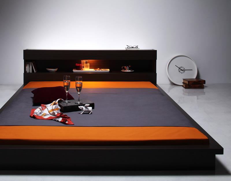 送料無料 ベッド マットレス付き シングル モダンライト付きフロアベッド FIGRINO フィグリーノ ポケットコイルマットレス付き シングルベッド マット付き ダークブラウン ホワイト 一人暮らし おすすめ おしゃれ