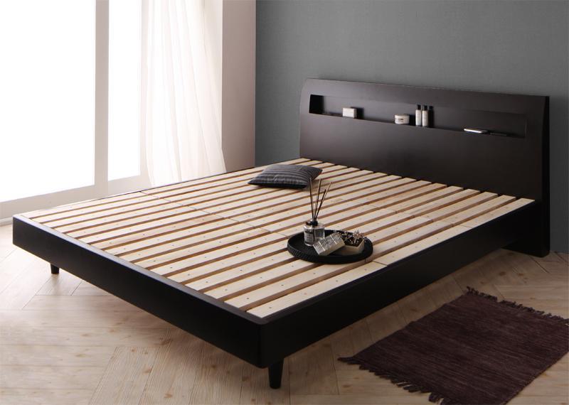 (送料無料) すのこベッド ダブルベッド フレームのみ ダブル ベッド ダブルサイズ ベッドフレーム クォーツ ヘッドボード 木製ベッド キャビネット 宮付き 棚付き コンセント付き デザインすのこベッド ホワイト 白 ダークブラウン 高級感 寝室 子供部屋 一人暮らし 高級