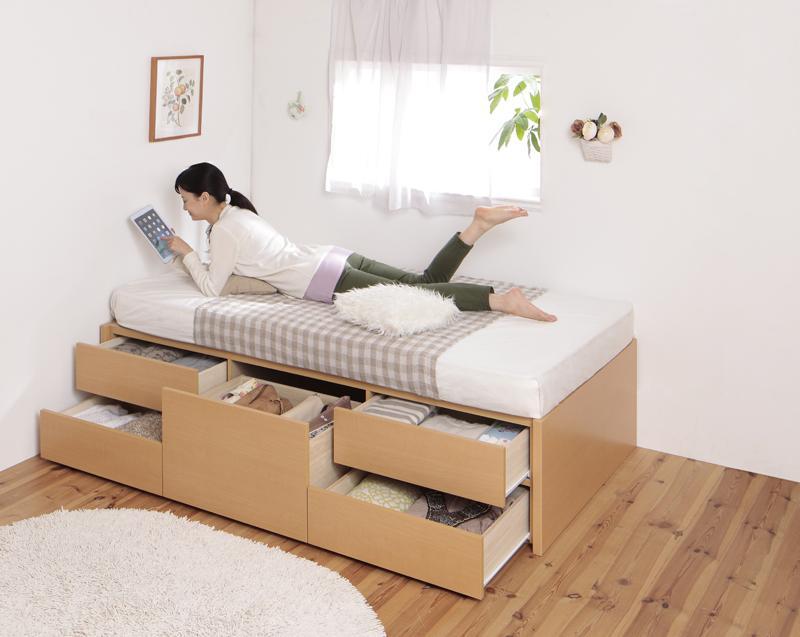 (送料無料) 日本製 ショート丈 小さい 180cm シングルベッド フレーム マット付き 収納付き シングル マットレスセット ヘッドレス 大容量 コンパクト チェストベッド クリージョン 薄型プレミアムポケットコイルマットレス付き 木製 引き出し かわいい おしゃれ
