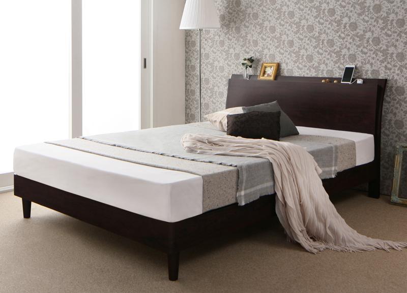 (送料無料) すのこベッド ダブル フレーム マットレス付き 木製ベッド 宮棚付き コンセント付き モダンデザインすのこベッド ヴルデアール 【ゼルトスプリングマットレス付き】 スノコベッド すのこ仕様 通気性 ダブルベッド スリム ヘッドボード 曲線
