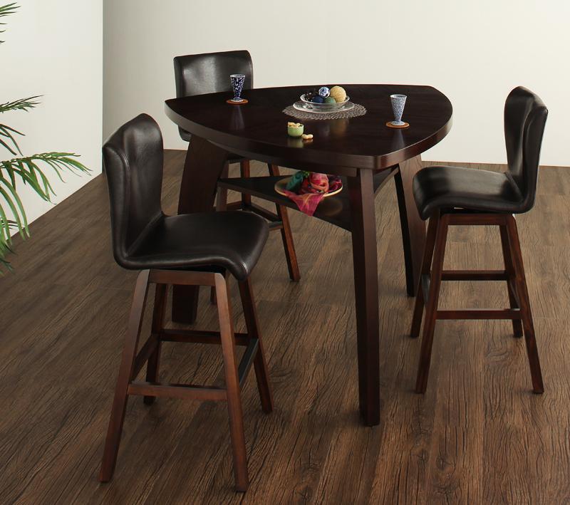 (送料無料) 丸みを帯びた三角形のバーテーブル テーブル4点セット ダイニングテーブルセット ダイニング ダイニングチェア 木製テーブル アジアンモダンデザインカウンターダイニング -Bar.EN/4点セットAタイプ(テーブル+チェア×3) 家具通販 新生活 敬老の日