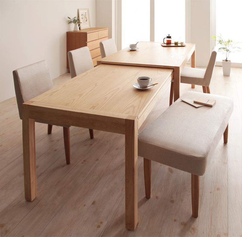 (送料無料) ダイニングセット 6点セット(テーブル+チェア×4+ベンチ×1) スライド伸縮テーブル グライド 6人用 伸長式 伸縮 伸縮式 エクステンションテーブル 食卓テーブルセット 食卓セット キャスター付き 天然木 木製テーブル ワイド おしゃれ 北欧 かわいい