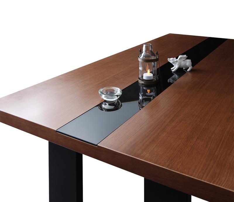 (送料無料) ダイニングテーブル単品 幅150×奥行80cm モダンデザインダイニング ビストロ エム ウォールナットデザイン+ブラックガラステーブル テーブル 食卓テーブル カフェテーブル 机 つくえ 作業台 4人掛け 4人用 木製 高級感 おしゃれ