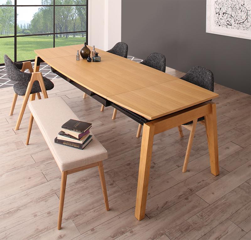 北欧デザイン スライド伸縮ダイニングセット MALIA マリア 6点セット(テーブル+チェア4脚+ベンチ1脚) W140-240