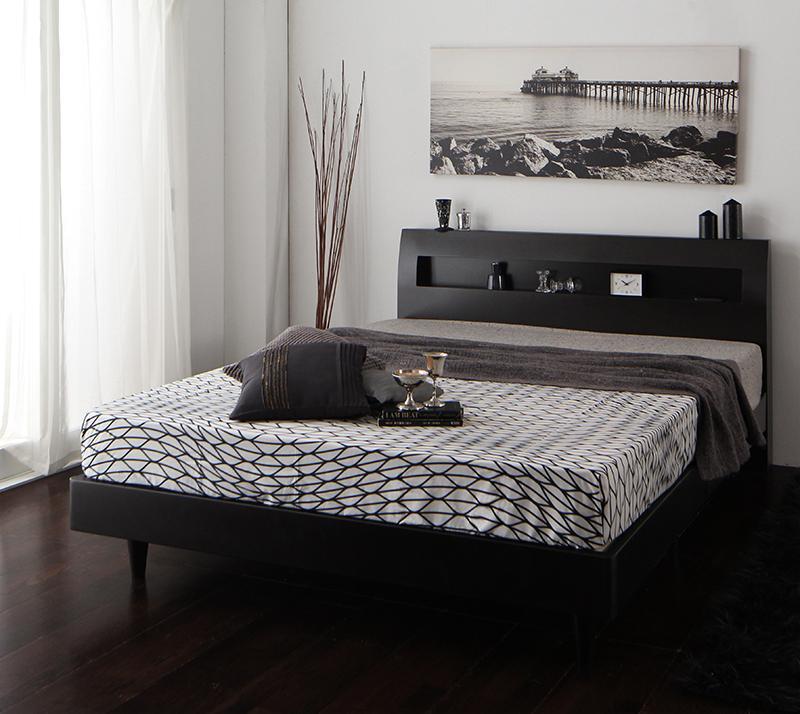 (送料無料) ベッドフレーム マットレスセット ダブル 棚 コンセント付き デザインすのこベッド ウィンダミア スタンダードポケットコイルマットレス付き ダブルベッド 木製 すのこベット すのこベッド ウェンジブラウン ホワイト 白