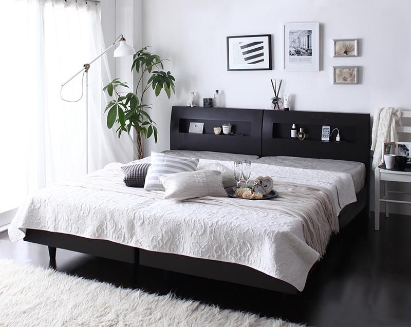 (送料無料) 連結 ベッドフレーム マットレスセット クイーン(SS×2) 棚 コンセント付き デザインすのこベッド ウィンダミア 国産カバーポケットコイルマットレス付き クイーンベッド 木製 すのこベット すのこベッド ウェンジブラウン ホワイト 白 分割 家族ベッド