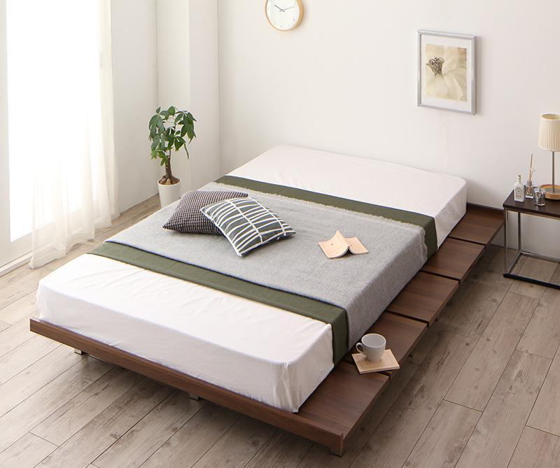 (送料無料) ローベッド フロアベッド 木製 ベッド すのこ 頑丈 すのこベッド リンフォルツァ(フレーム:ダブル)+(マットレス:セミダブル)マットレスの種類:プレミアムポケットコイルマットレス付き