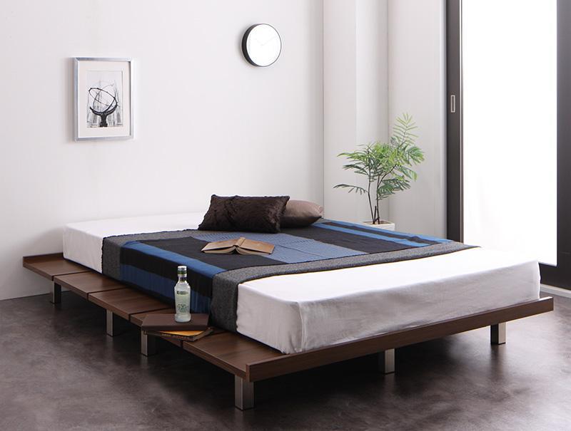 (送料無料) すのこ ベッド ベッドフレーム マットレス付き ステージレイアウト シングル シングルベッド べット 耐荷重600kg 頑丈 すのこベット ティーボード プレミアムポケットコイルマットレス付き 木製 ローベッド ローベット シングルサイズ すのこベッド ヘッドレス