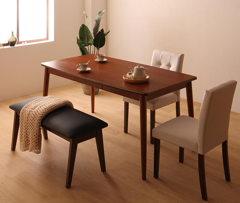 さっと拭ける PVCレザーダイニング fassio ファシオ 4点セット(テーブル+チェア2脚+ベンチ1脚) W150