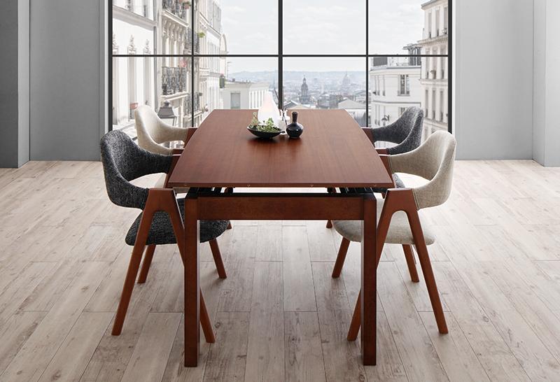 北欧テイスト 天然木ウォールナット材 伸縮ダイニングセット KANA カナ 5点セット(テーブル+チェア4脚) W140-240