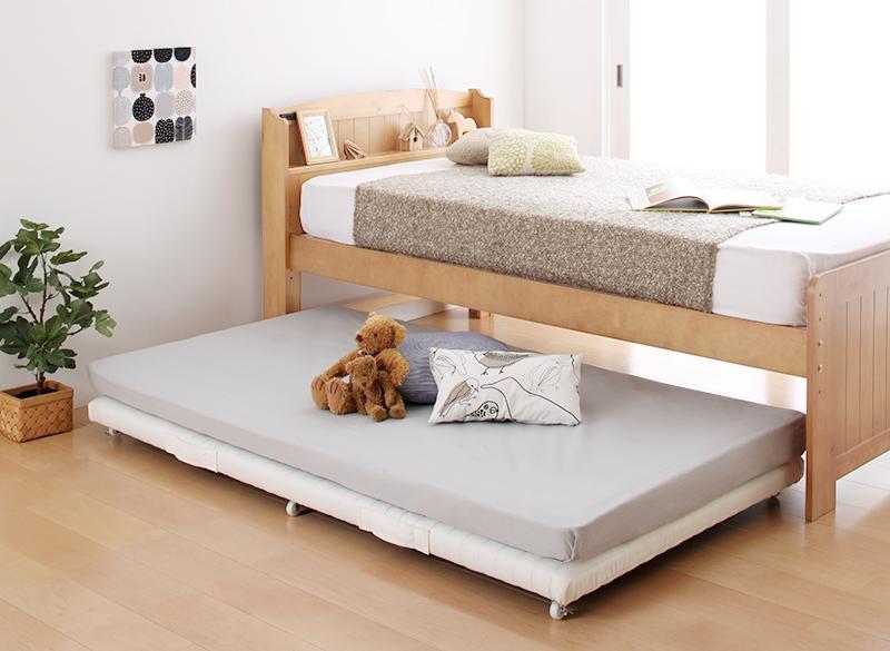 (送料無料) 子ベッドのみ ベッドフレーム マットレスセット 下段ベッド シングル シングルベッド ショート丈 ベーネ&チック 薄型・抗菌国産ポケットコイルマットレス付き スライドベッド ローベッド ロータイプ スノコベッド コンパクト スライド